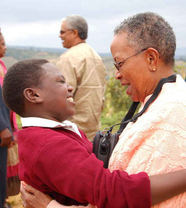 Barbara Lewis with her student in Kenya